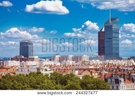 Panoramic View Of La Part-dieu Business District Of Lyon, France