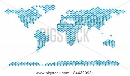 Blue Circle Dot World Continent Map. Vector Geographic Map In Cold Blue Color Tinges On A White Back