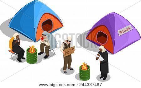 Stateless Refugees Asylum Icons Isometric Composition With Images Of Tents And Group Of Displaced Pe