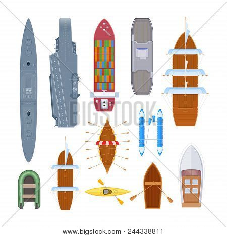 Water Transport Set Of Different Modern Warship, Ferry, Marine Transport. Shipping Boat With Militar