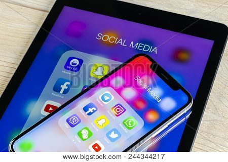 Sankt-petersburg, Russia, June 2 2018: Apple Iphone X And Ipad With Icons Of Social Media Facebook,