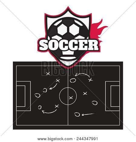 Football Or Soccer Game Strategy Plan On Blackboard. Football Strategy Board