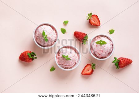 Strawberry Ice Cream And Fresh Strawberries On White Background, Copy Space. Three Bowls Of Strawber