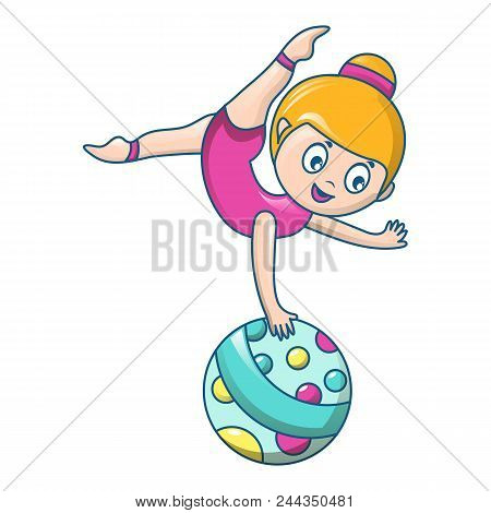 Woman Acrobat Icon. Cartoon Of Woman Acrobat Vector Icon For Web Design Isolated On White Background