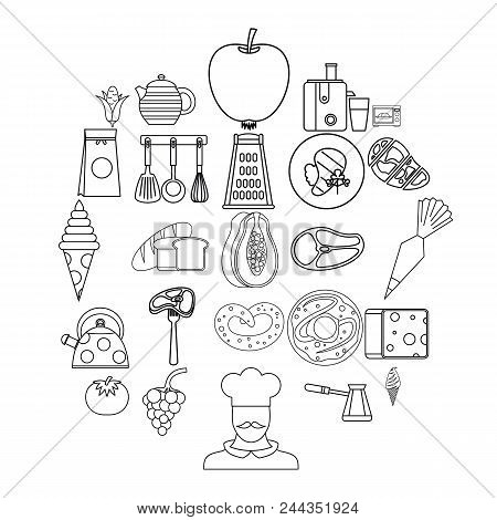 Dining Room Icons Set. Outline Set Of 25 Dining Room Vector Icons For Web Isolated On White Backgrou
