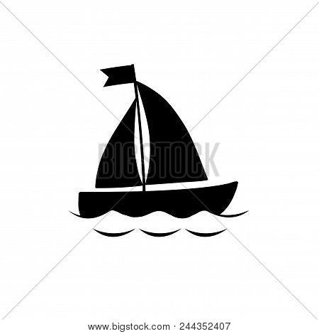 Vector Black Silhouette Illustration Of Sailing Ship Transportation Floating On Sea Waves. Yacht Boa