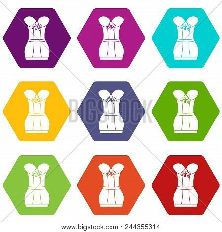Retro Corset Icons 9 Set Coloful Isolated On White For Web