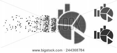 Dissolved Statistics Pixel Icon With Disintegration Effect. Halftone Dotted And Undamaged Solid Grey