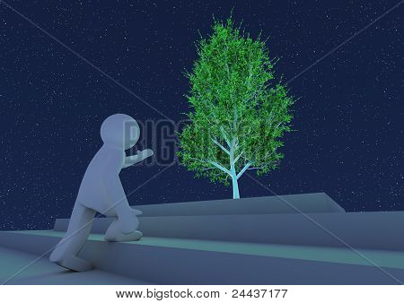 Person Reaching Towards An Abstract Tree