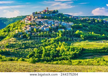 Scenic View At Famous Motovun Town In Istria Region, Luxury Travel Destination In Croatia, Europe.
