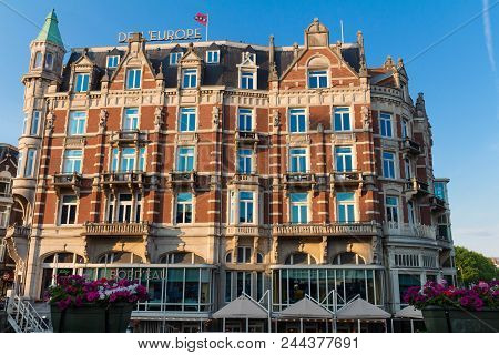 Amsterdam, Netherlands - May 23 , 2018: Hotel De L Europe Is A Five Star Hotel Located On The Amstel
