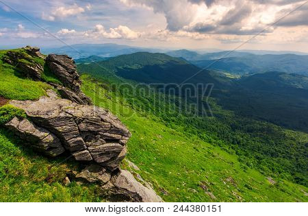 Rocky Cliffs Of The Pikui Mountain. Borzhava Mountain Ridge In The Far Distance. Beautiful Summer La