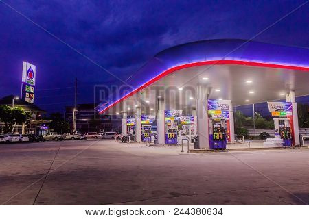 Phuket, Thailand - May 2, 2018: Gas Station Of Petroleum Authority Of Thailand (ptt) In Ealy Nigh Ti