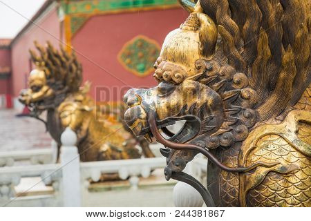 Bronze Lion In Front Of The Hall Of Supreme Harmony In Beijing Forbidden City, Forbidden City Is One