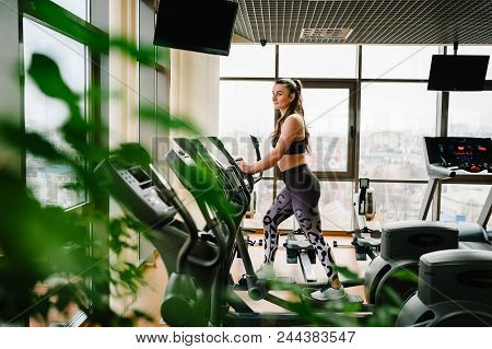 Attractive young woman exercising on a elliptical cross trainer in sport club. Fitness trainer girl is engaged in sports in gym. Side view. poster