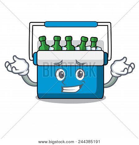 Grinning Freezer Bag Character Cartoon Vector Illustration