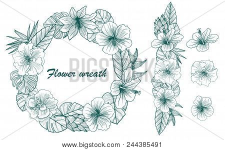 A Beautiful Wreath With Beautiful Floral Leaves In A Blue-green Color. Vector Illustration.