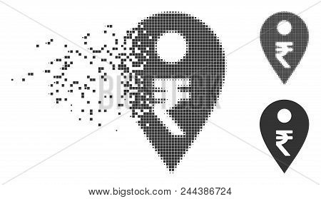 Dissolved Rupee Map Marker Pixel Icon With Disintegration Effect. Halftone Dotted And Undamaged Enti