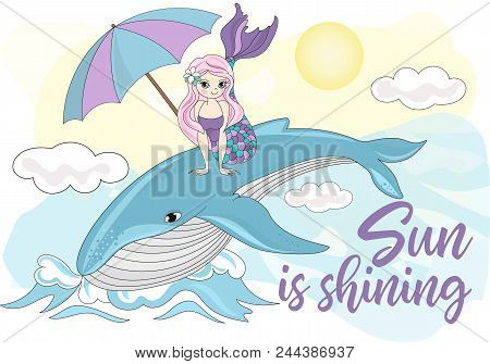 Sea Ocean Tropical Summer Vector Colorful Illustration Whale Mermaid Art Projects, Prints, T-shirts,