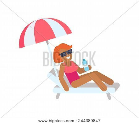 Cute Woman On Vacation, Color Vector Illustration, Outdoor Rest Banner, Striped Umbrella And White L