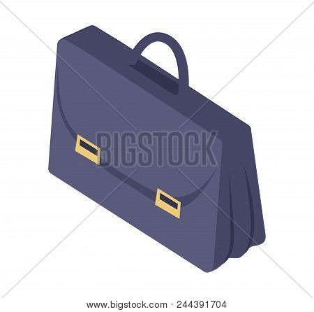 Black Leather Briefcase With Handle And Metal Clasp Fasteners Vector Illustration Isolated On White