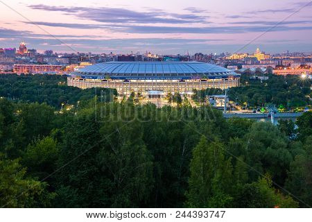 Moscow, Russia - June 06: The Dusk View Of Luzhniki Stadium From Sparrow Hills Observation Deck, The