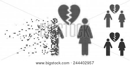 Dispersed Family Divorce Pixel Icon With Disintegration Effect. Halftone Pixelated And Undamaged Ent