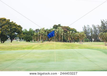 Blue Flag At The Beautiful Golf Course Of Golf Course