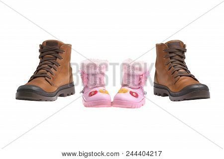 Concept Daddy Protects Daughter, Couple Brown Boot Instead Of Father And Pink Boot Instead Of Daught
