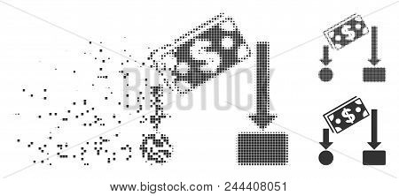 Grey Vector Cash Flow Icon In Dissolved, Dotted Halftone And Undamaged Entire Variants. Square Dots