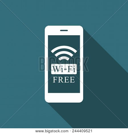 Smartphone With Free Wi-fi Wireless Connection Icon Isolated With Long Shadow. Wireless Technology,