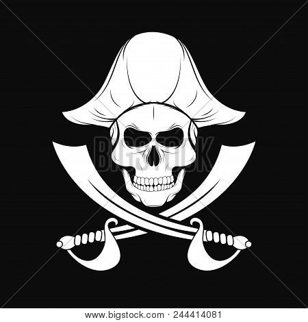 Pirate Skull In Captain Hat With Crossed Sabers. T-shirt Design In Pirate Style. Vintage Badge And E