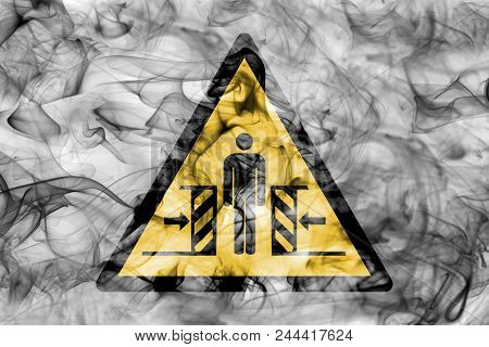 Risk Of Crushing Hazard Warning Smoke Sign. Triangular Warning Hazard Sign, Smoke Background.