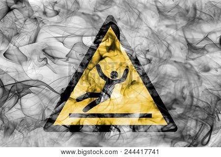 Slip Hazard Warning Smoke Sign. Triangular Warning Hazard Sign, Smoke Background.