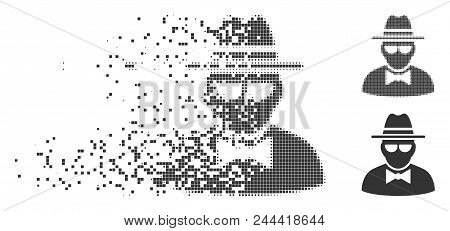 Grey Vector Secret Agent Icon In Dispersed, Dotted Halftone And Undamaged Whole Versions. Rectangula