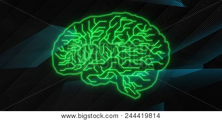 Creative Glowing Green Circuit Brain Background. Computing And Ai Concept. 3d Rendering