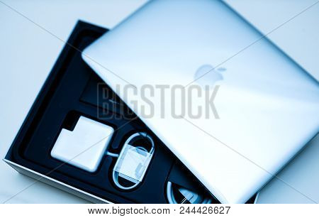 London, United Kingdom - Jan 14, 2015: Tilt-shift Lens On The New Apple Macbook Pro Laptop Computer