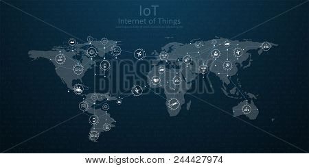 Nternet Of Things (iot), Cloud At Center, Devices And Connectivity Concepts On A Network.
