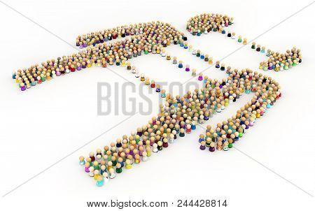Crowd Of Small Symbolic Figures Forming Big Person Shape Split Reunite, 3d Illustration, Horizontal,