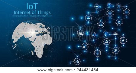 Internet Of Things (iot), Devices And Connectivity Concepts On A Network, Cloud At Center. Digital C