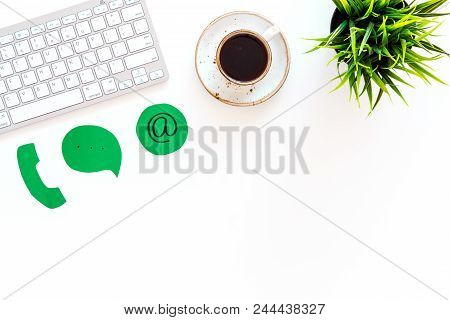 Template For Contacts, Background For Contact Information. Phone, Email Signs On Office Work Desk Wi