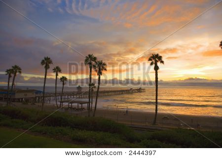 San Clemente Pier At Sunset After A Storm.