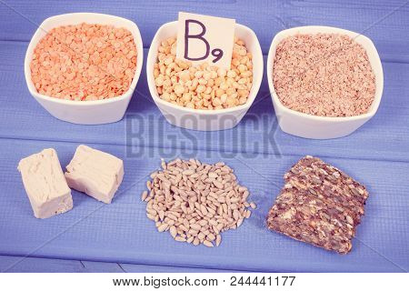 Vintage photo, Nutritious products containing vitamin B9, natural sources of minerals and folic acid, concept of healthy nutrition poster