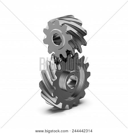 Helical Bevel Gear. Noiseless Gear. Gear Transmission Rotation Angle On White Background. 3d Renderi