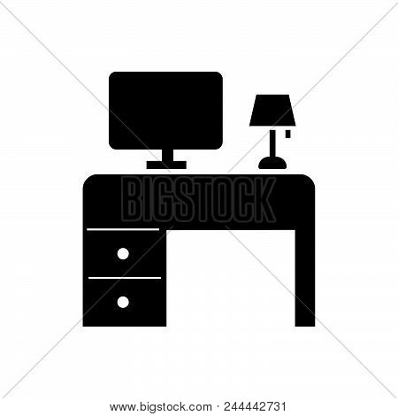 Working Table Vector Icon On White Background. Working Table Modern Icon For Graphic And Web Design.