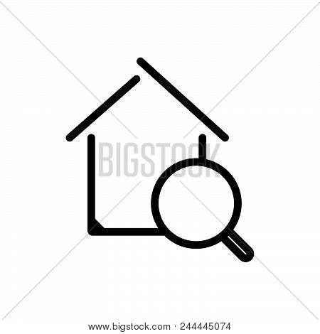 Search Real Estate Outlined Symbol Of Search Property Online.  Search Real Estate Icon. Search Real