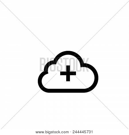 Add To Cloud Vector Icon On White Background. Add To Cloud Modern Icon For Graphic And Web Design. A