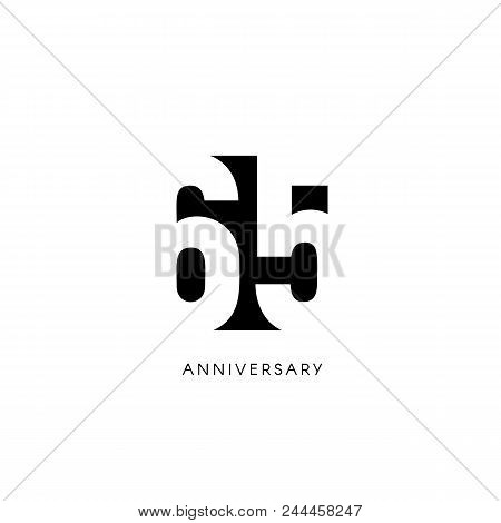 Sixty Five Anniversary, Minimalistic Logo. Sixty-fifth Years, 65th Jubilee, Greeting Card. Birthday