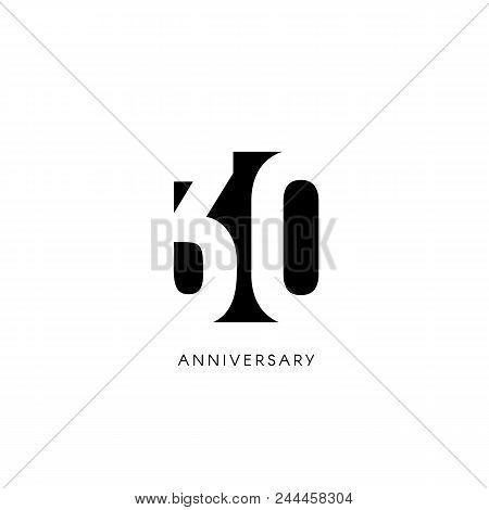 Thirty Anniversary, Minimalistic Logo. Thirtieth Years, 30th Jubilee, Greeting Card. Birthday Invita