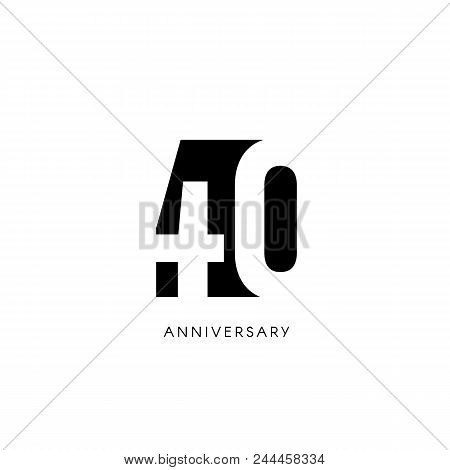 Forty Anniversary, Minimalistic Logo. Fortieth Years, 40th Jubilee, Greeting Card. Birthday Invitati